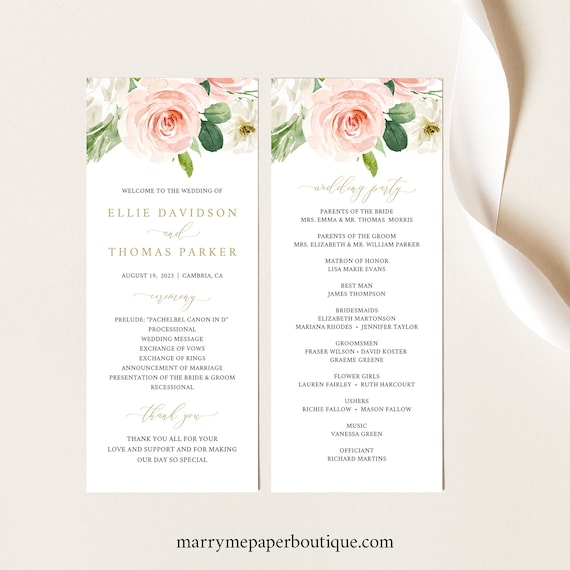 Wedding Program Template, Pink Blush Floral, TRY BEFORE You BUY, Editable Instant Download