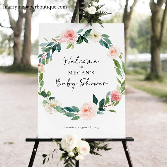Baby Shower Welcome Sign Template, Blush Floral Greenery Wreath, Baby Shower Sign, Printable, Editable, Templett INSTANT Download