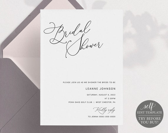 Bridal Shower Invitation Template, Minimalist  Portrait, Editable & Printable Instant Download, Templett