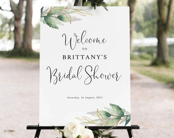 Bridal Shower Welcome Sign Template, Greenery & Gold, Bridal Shower Sign, Printable, Templett INSTANT Download, Editable