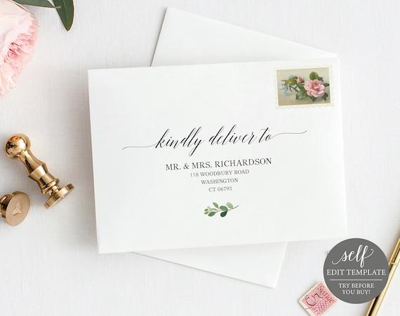 Envelope Template, Printable Envelope Address Template, 100% Editable, Wedding Envelope Address Label, Wedding Address, Instant Download