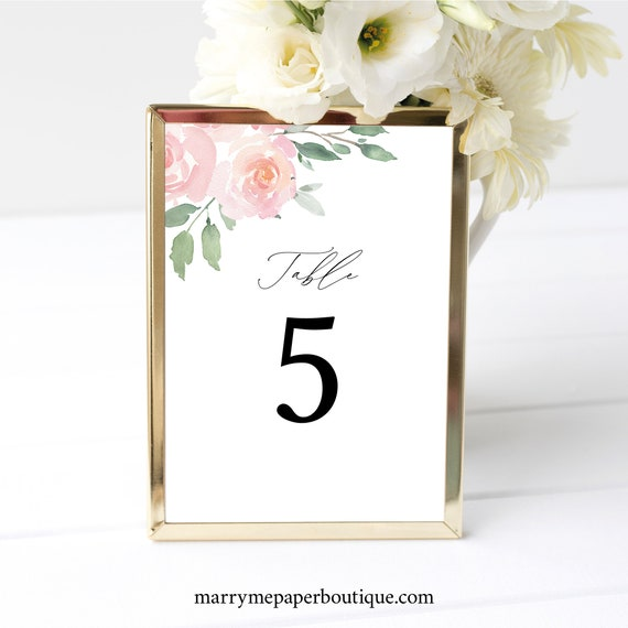 Table Number Sign Template, Elegant Blush Floral, Templett, Try Before Purchase, Editable & Printable, Instant Download