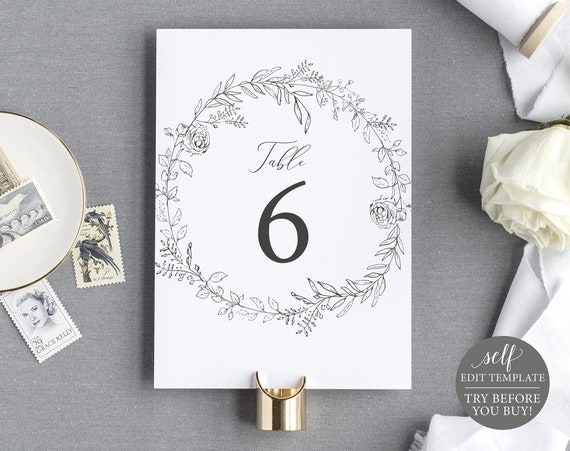 Table Number Template, TRY BEFORE You BUY, Fully Editable Instant Download, Botanical Floral