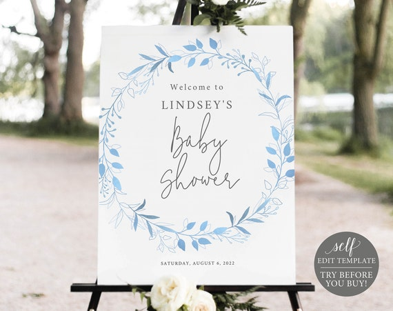 Baby Shower Welcome Sign Template, Light Blue Wreath, Order Edit & Download In Minutes, Try Before Purchase