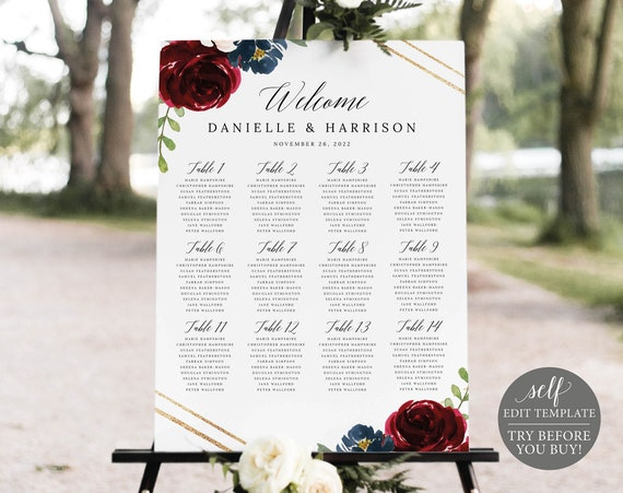 Seating Chart Template, Editable & Printable Instant Download, Demo Available, Burgundy Navy
