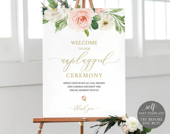 Unplugged Ceremony Sign Template, Blush Floral, Editable Instant Download, TRY BEFORE You BUY