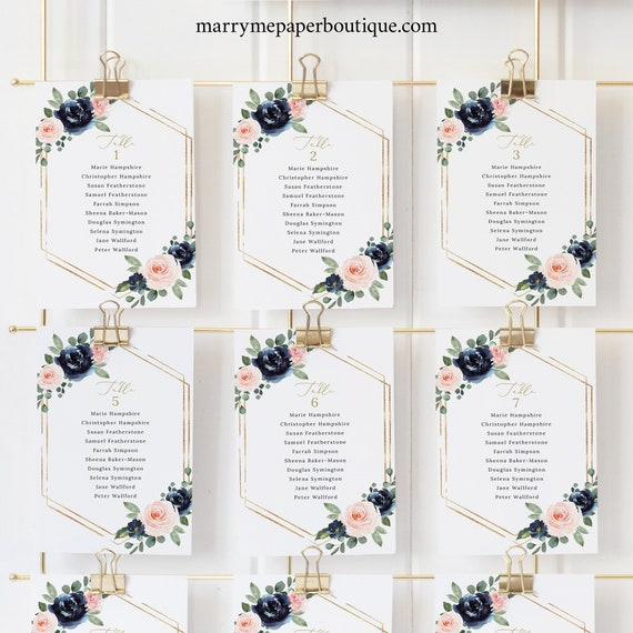 Seating Cards Template, Navy & Blush Floral, Wedding Seating Chart Cards, Printable, Editable, Templett INSTANT Download