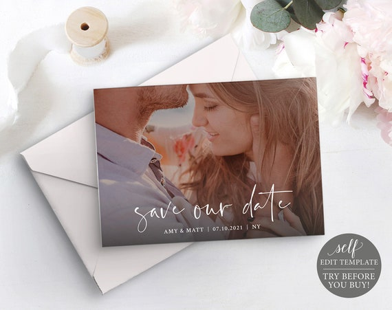 Save Our Date Photocard Template, Instant Download, TRY BEFORE You BUY, 100% Editable