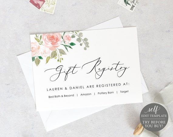 Wedding Registry Card Template, TRY BEFORE You BUY, Blush & Pink Floral, Editable Instant Download