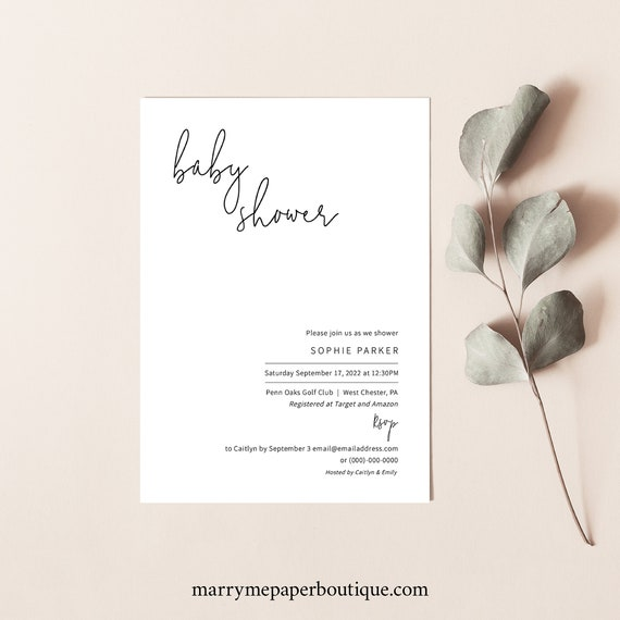 Baby Shower Invitation Template, Minimalist Elegant, Editable & Printable Instant Download, Try Before Purchase