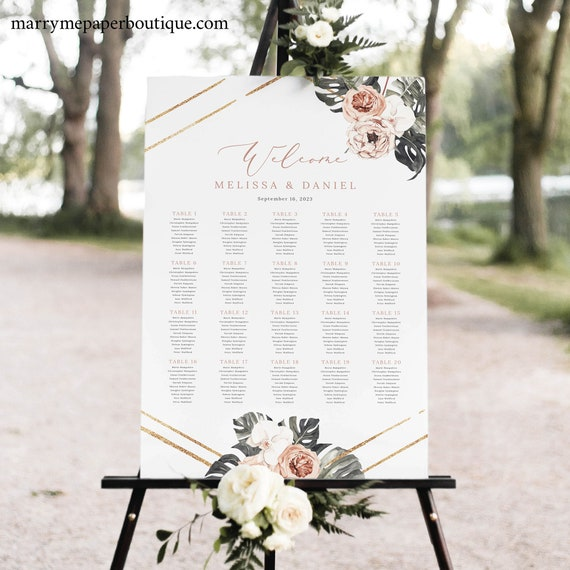 Wedding Seating Chart Template, Tropical Leaf, Dusky Pink Flowers, Printable Seating Plan Sign, Templett INSTANT Download, Editable