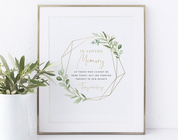 In Loving Memory Sign Template, Greenery & Gold, Instant Download Non-Editable