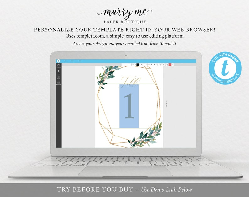 Table Number Template TRY BEFORE You Buy Editable Instant Download Wedding Printable