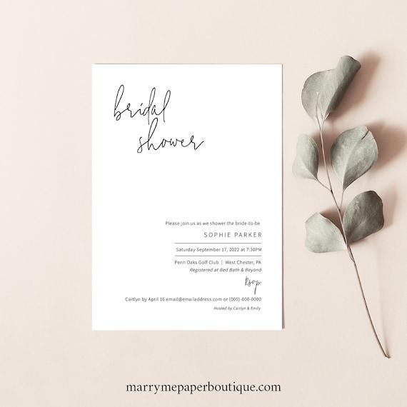 Bridal Shower Invitation Template, Minimalist Elegant, Templett, Editable & Printable Instant Download, Try Before Purchase