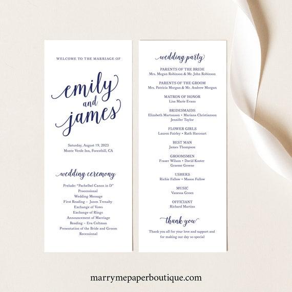 Wedding Program Template, Navy Script Font, Slim Wedding Ceremony Program, Printable, Editable, Templett INSTANT Download