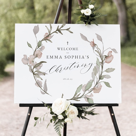 Christening Welcome Sign Template, Blush Floral, Greenery, Christening Sign, Printable, Editable, Templett INSTANT Download