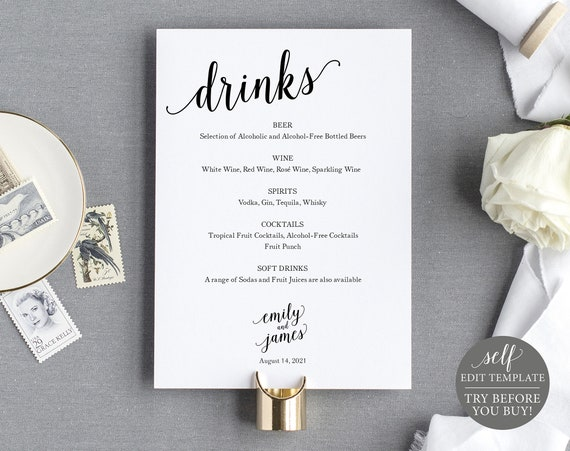 Bar Menu Template, 100% Editable Instant Download, Modern Script, TRY BEFORE You BUY