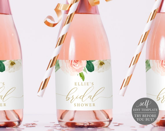 Champagne Bottle Label Template Mini, Blush Floral, TRY BEFORE You BUY, Editable Instant Download