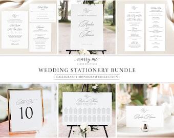 Wedding Bundle Template Set, Traditional Wedding, Calligraphy Monogram, Wedding Stationery Bundle Printables, Templett INSTANT Download