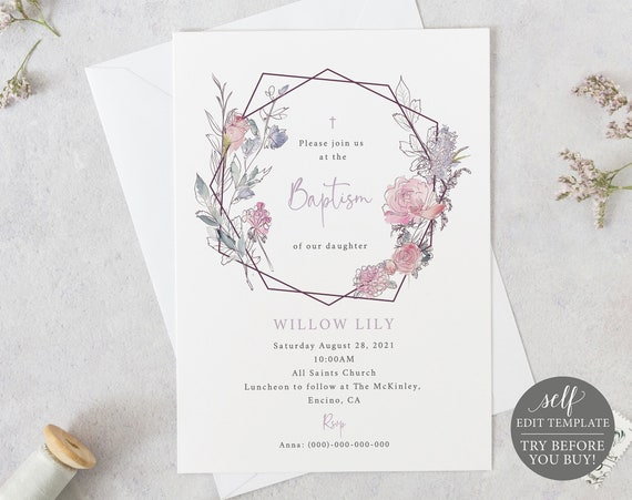 Baptism Invitation Template, TRY BEFORE You BUY, 100% Editable Instant Download, Pink & Lilac Geometric