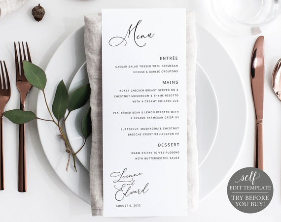 Menu Template, Editable & Printable Instant Download, Templett, Minimalist Portrait