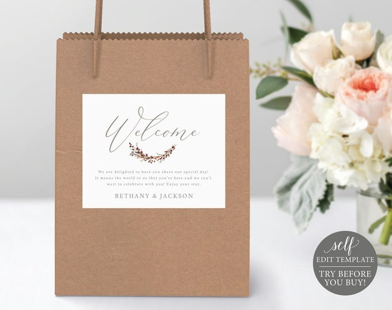 Guest Bag Label Template, TRY BEFORE You BUY, 100% Editable Wedding Label Printable, Instant Download