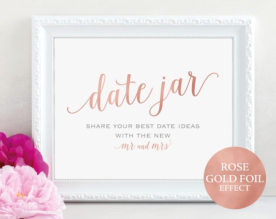 Rose Gold Date Jar Sign and Card, Mr and Mrs, Date Ideas, Wedding Sign, Wedding Printable, Date Jar Card, PDF Instant Download, MM01-7