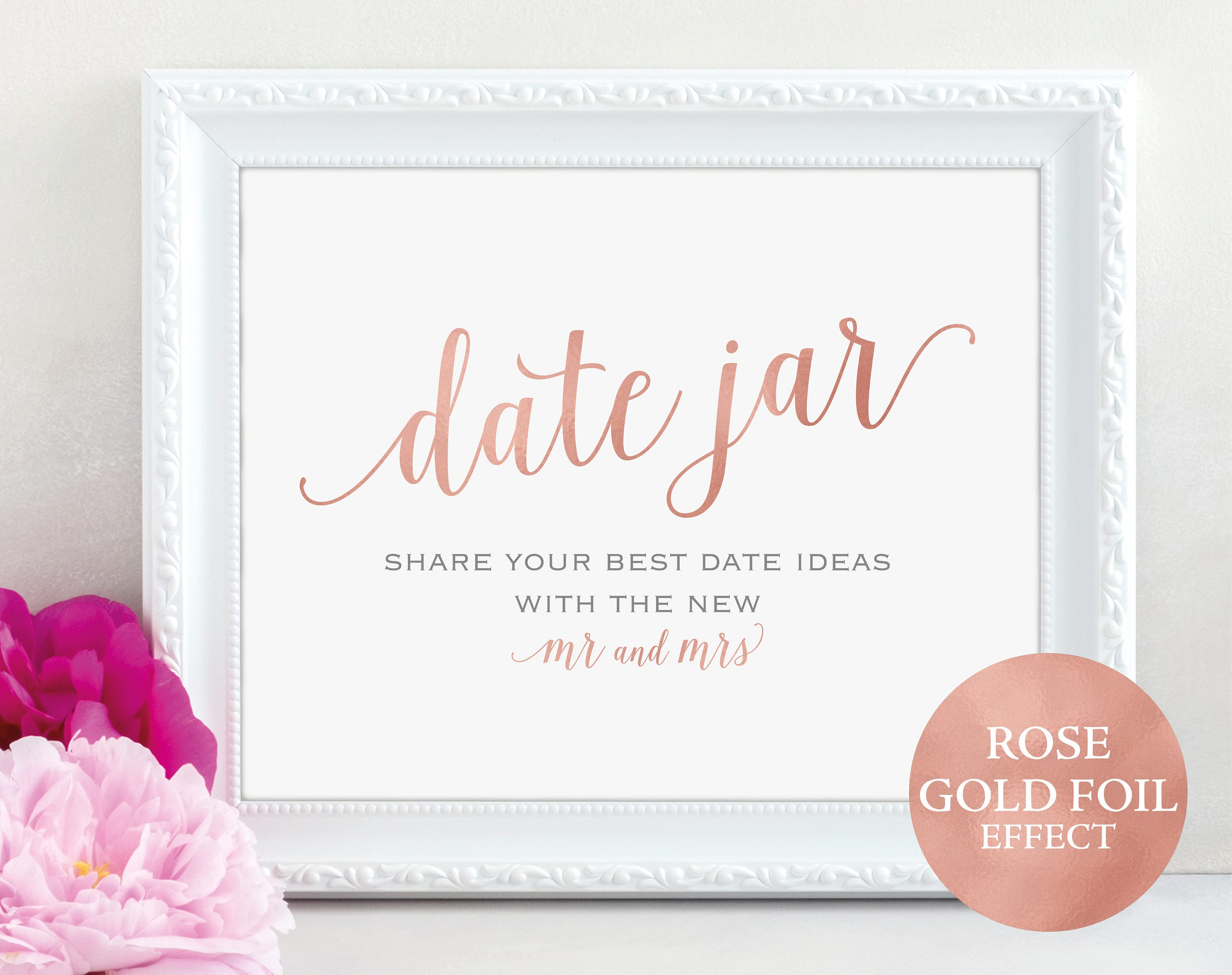 Rose Gold Date Jar Sign And Card Mr And Mrs Date Ideas Wedding Sign Wedding Printable Date Jar Card Pdf Instant Download Mm01 7