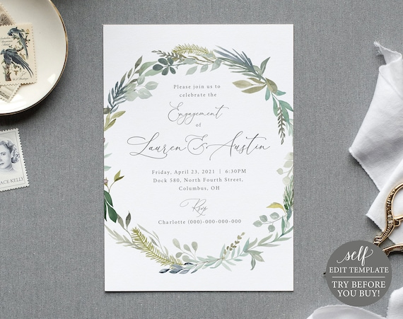 Engagement Party Invite Template, Greenery Blue Floral, TRY BEFORE You BUY, 100% Editable Instant Download