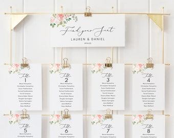 Floral Wedding Seating Chart Template, Printable Seating Plan Template, Floral Printable Seating Cards Template, Instant Download