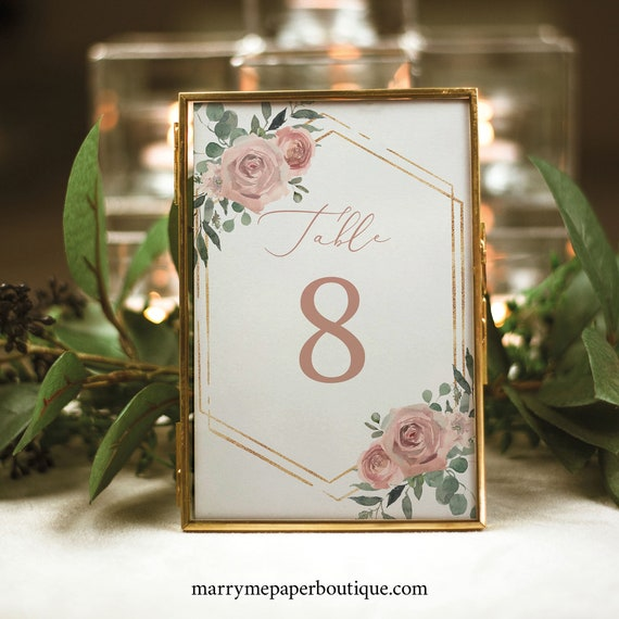Table Number Template, Dusky Pink Floral, Wedding Table Number Sign Printable, Editable, Templett INSTANT Download