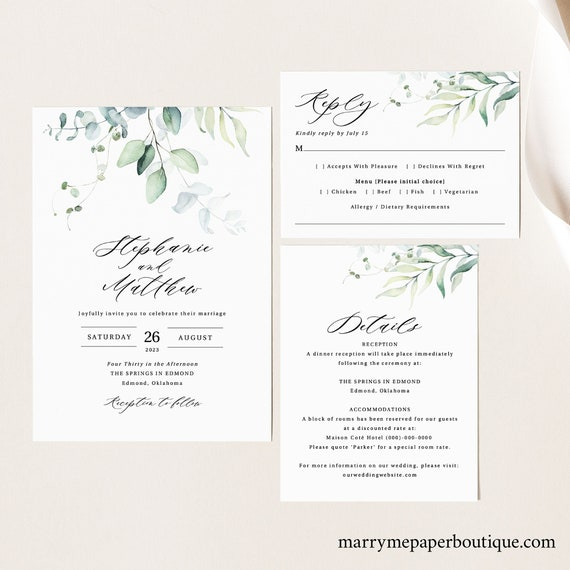 Wedding Invitation Template Set, Green Leaves, Wedding Invite Suite, Printable, RSVP, Editable, Templett INSTANT Download