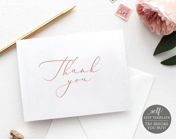 Thank You Card Template, Rose Gold Folded, TRY BEFORE You BUY, 100% Editable Instant Download