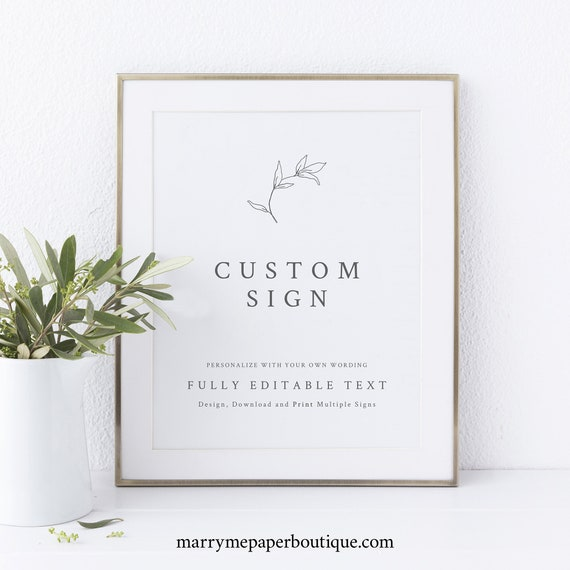 Botanical Leaf Wedding Sign Bundle Template, Make Multiple Signs, Templett Instant Download, Try Before Purchase