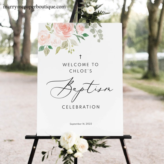 Baptism Welcome Sign Template,  Editable Baptism Sign Printable, Pink & Blush Floral, Instant Download, TRY BEFORE You BUY