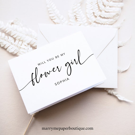Flower Girl Card Template, Modern Calligraphy, Will You Be My Flower Girl Proposal Card, Printable, Editable, Templett INSTANT Download
