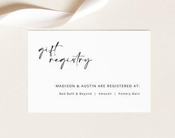 Registry Card Template, Wedding Gift Registry Card, Printable, Editable Enclosure Card, Templett INSTANT Download