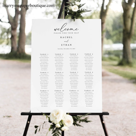 Wedding Seating Chart Template, Elegant & Refined, Seating Plan Printable, Templett INSTANT Download