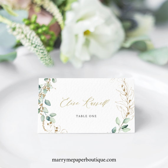 Wedding Place Card Template, Gold & Greenery, Wedding Seating Cards, Printable, Tent and Flat, INSTANT Download, Templett, Editable