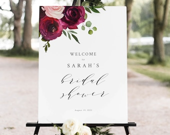 Bridal Shower Welcome Sign Template, Burgundy Flowers, Bridal Shower Sign Printable, Templett Instant Download, Try Before Purchase