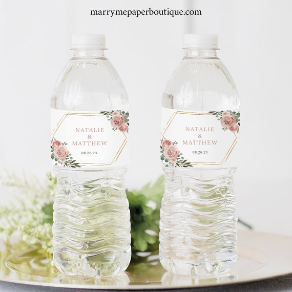 Wedding Water Bottle Label Template, Dusky Pink Floral, Mineral Water Label, Printable, Editable, Templett INSTANT Download