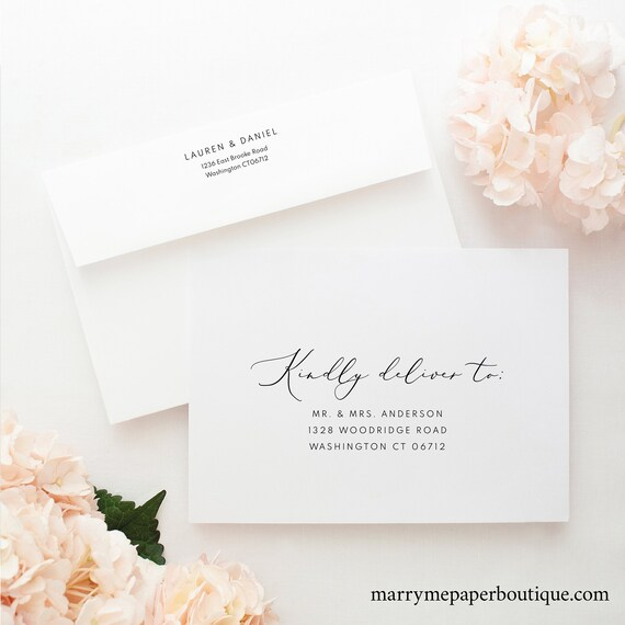Envelope Address Template, TRY BEFORE You BUY, Fully Editable Instant Download, Calligraphy