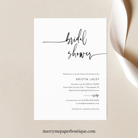 Bridal Shower Invitation Template, Modern Contemporary, Clean Simple Bridal Shower Invite, Printable, Editable, Templett INSTANT Download