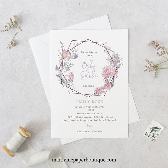 Baby Shower Invitation Template, Pink Lilac Floral, Instant Download, Try Before You Buy, Templett, Editable & Printable Invite