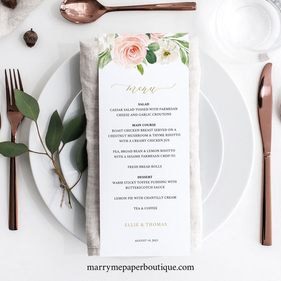 Wedding Menu Template, TRY BEFORE You BUY, Editable Blush Floral Instant Download, 3.5x8.5