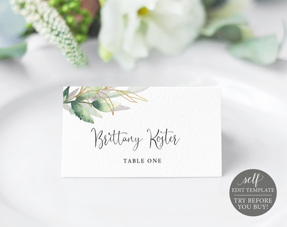 Place Card Template, Greenery Gold, TRY BEFORE You BUY, Editable Instant Download