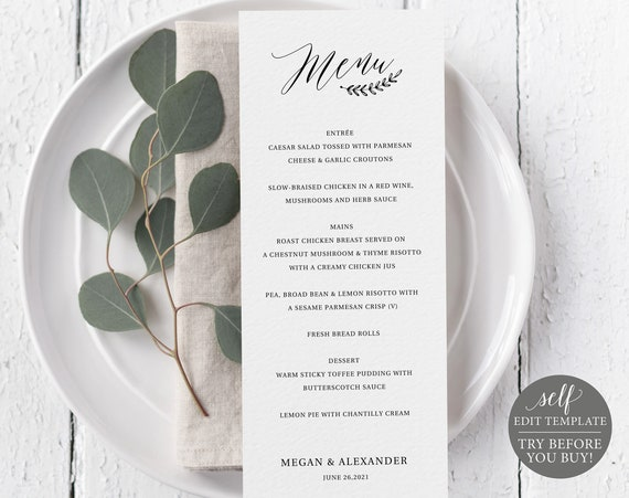 Rustic Menu Template, TRY BEFORE You BUY, 100% Editable, Instant Download