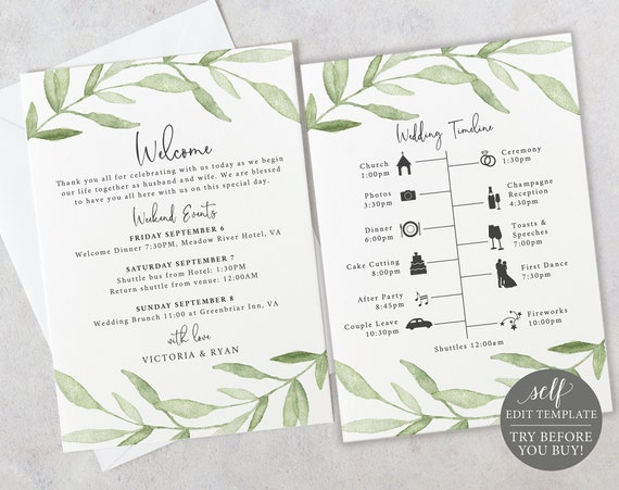 Wedding Itinerary Welcome Card Template, TRY BEFORE You BUY, Greenery Leaves, Editable Instant Download