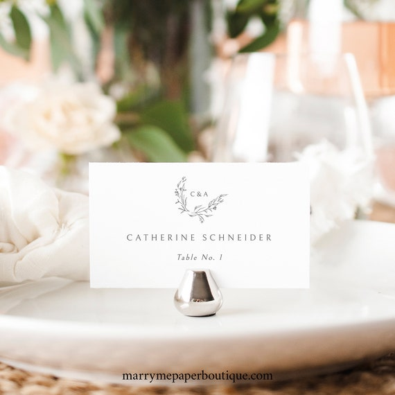 Wedding Place Card Template, Try Before Purchase, Editable Seating Card, Templett Instant Download, Elegant Monogram Design