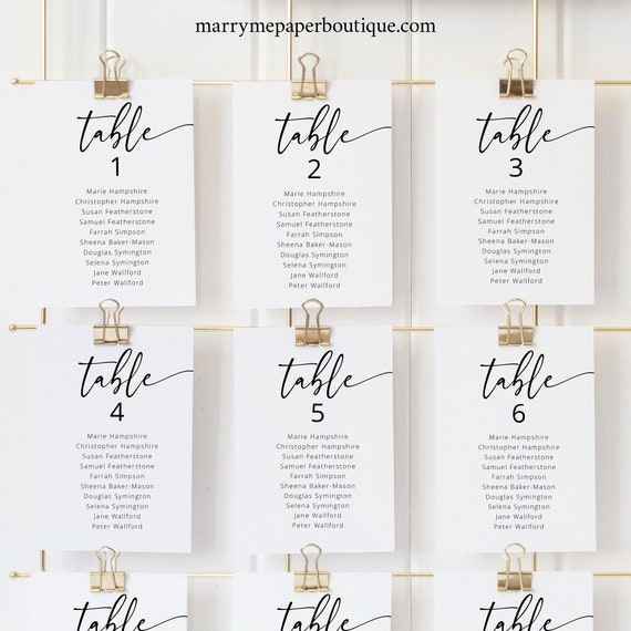 Wedding Seating Cards Template, Modern Calligraphy, Editable & Printable, Templett Instant Download, Try Before You Buy